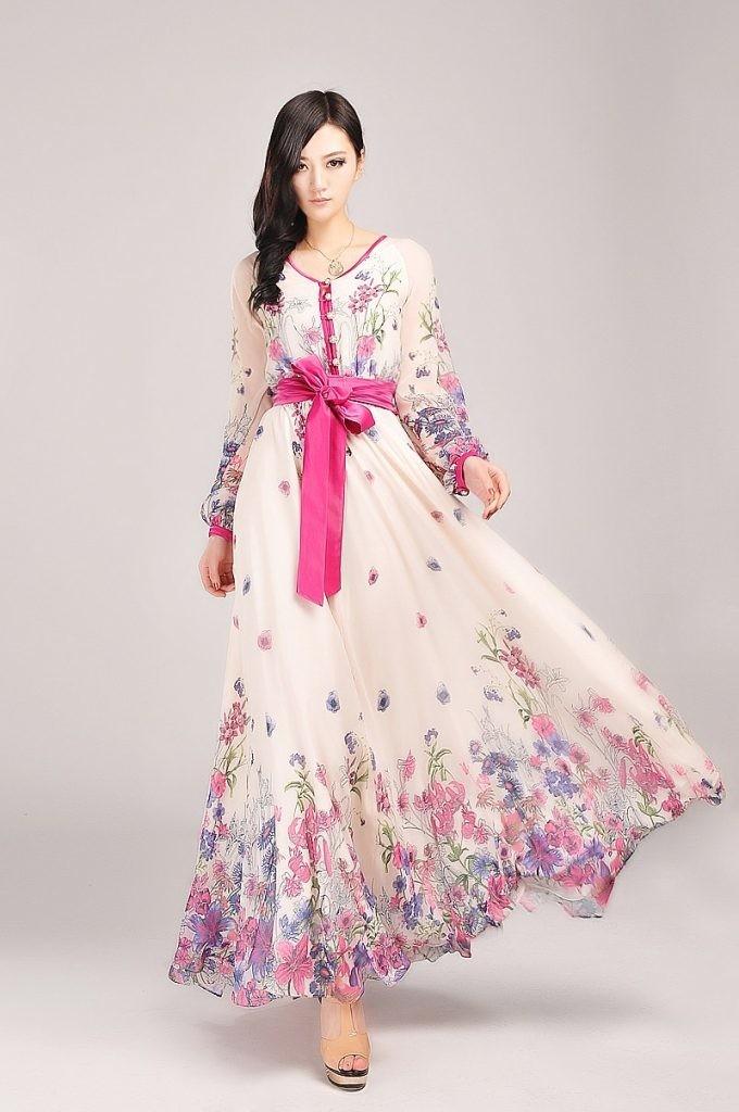 الفساتين الطويلة المنقوشة