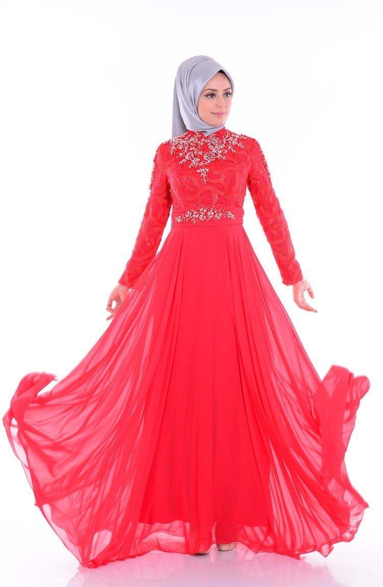 فستان شيفون أحمر