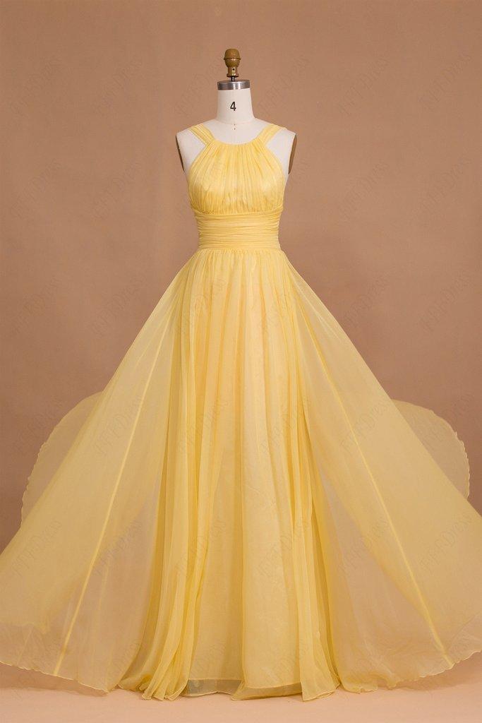 فستان شيفون أصفر