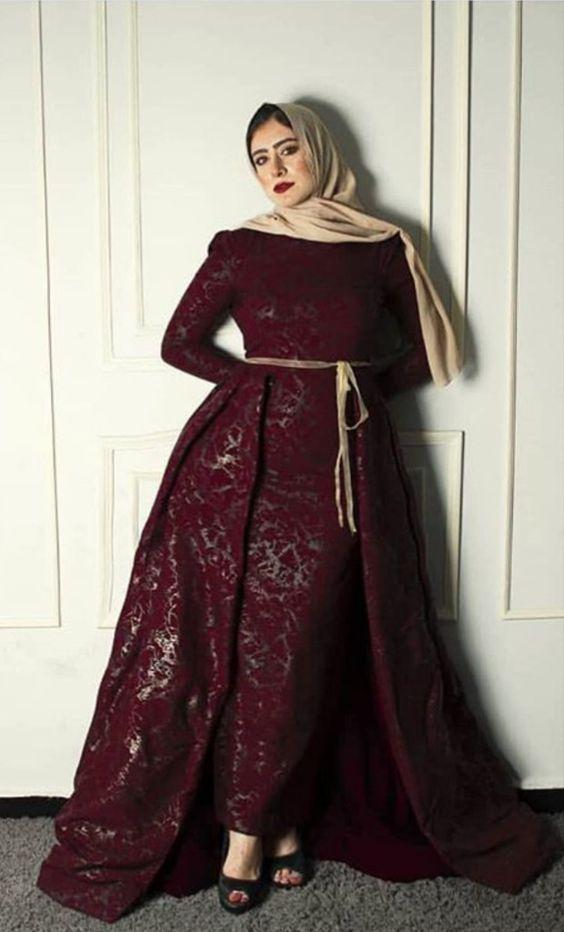 الفساتين سهرة للمحجبات دم الغزال