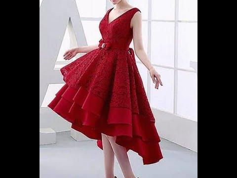 فساتين سهرة قصيرة لون احمر
